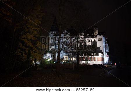 Valtionhotelli. Night Cityscape Of Imatra