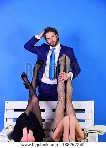 Man Or Businessman In Suit And Female Sexy Legs