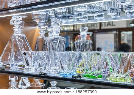 Bohemian Glass Stand On The Shelf