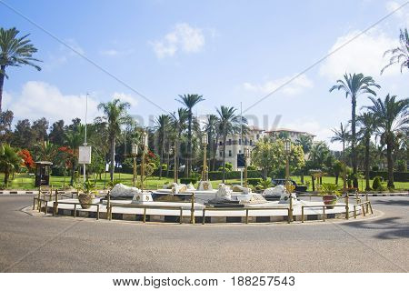 ALEXANDRIA EGYPT - 25 JUNE 2015: Monument with lions in the park Montazah in Alexandria Egypt.