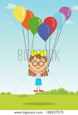 Little girl with glasses flying with multicolored balloons on meadow in summer