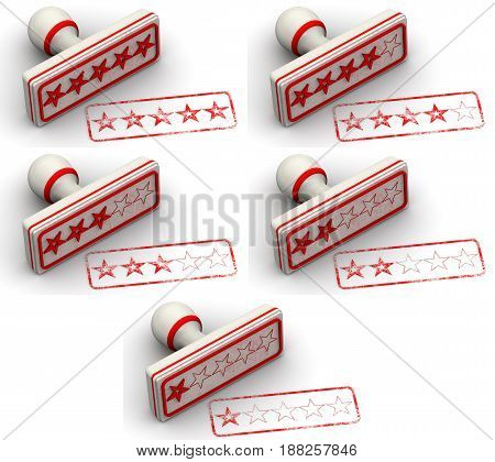 Five stars rating. Set of red seals and imprints from one to five rating stars. Isolated. 3D Illustration