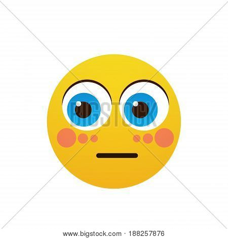 Yellow Cartoon Face Shocked People Emotion Icon Flat Vector Illustration