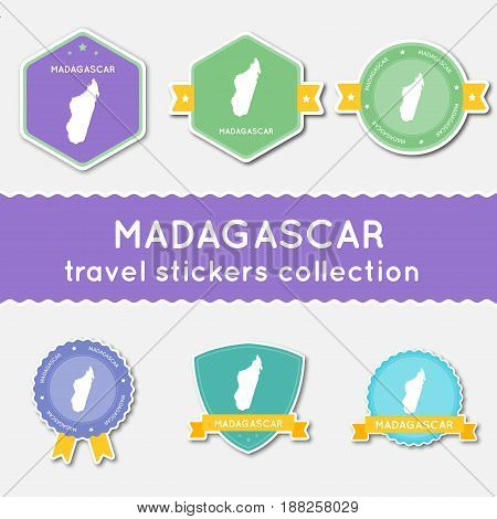 Madagascar Travel Stickers Collection. Big Set Of Stickers With Country Map And Name. Flat Material