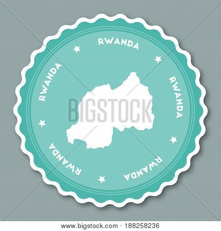 Rwanda Sticker Flat Design. Round Flat Style Badges Of Trendy Colors With Country Map And Name. Coun