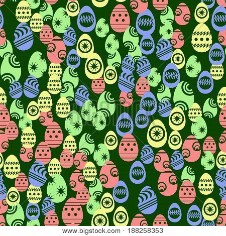 Easter Eggs Seamless Pattern on Green Background