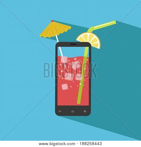 Smartphone filled with fresh juice. Icecubes, umbrella, slice of lemon, straw. Flat design
