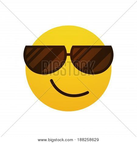 Yellow Smiling Cartoon Face Wear Sunglasses Positive People Emotion Icon Flat Vector Illustration