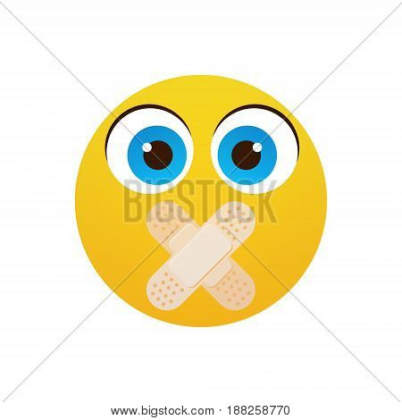 Yellow Cartoon Face Silent Not Speaking People Emotion Icon Flat Vector Illustration