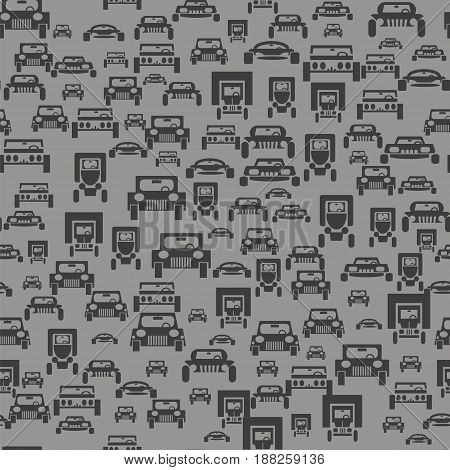 Car Silhouette Seamless Pattern on Grey Background
