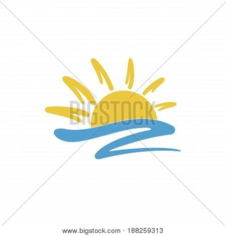 Sun icon creative logo design. Isolated vector illustration on white background.
