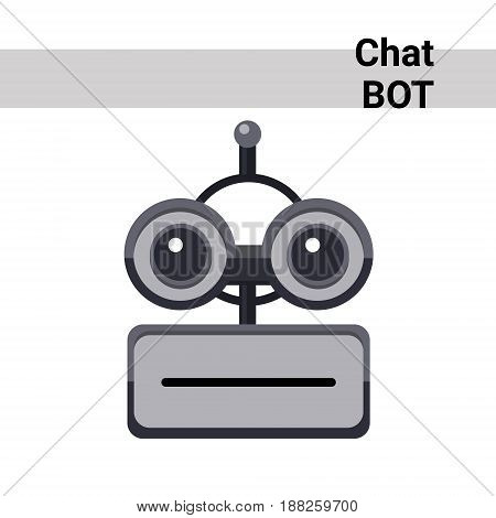 Cartoon Robot Face Smiling Cute Emotion Neutral Chat Bot Icon Flat Vector Illustration