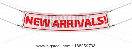 New arrivals! Advertising banner with inscriptions
