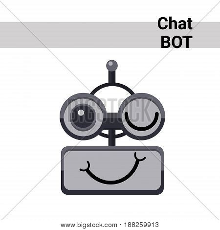 Cartoon Robot Face Smiling Cute Emotion Wink Chat Bot Icon Flat Vector Illustration