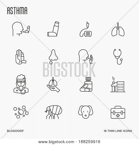 Set of allergy symptoms and the most common allergens thin line style icons. Asthma inhaler. Vector illustration.