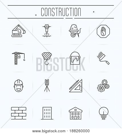 Set of building construction icons. Thin line vector illustration.
