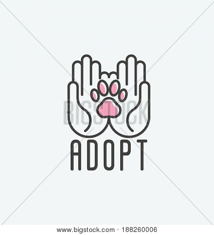 Thin line vector illustration of adopt a pet banner, new owner, domestic animal farm, hotel. Human hands with paw inside.