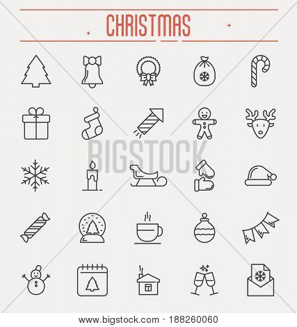 Set of new year and christmas thin line icons. Vector illustration.