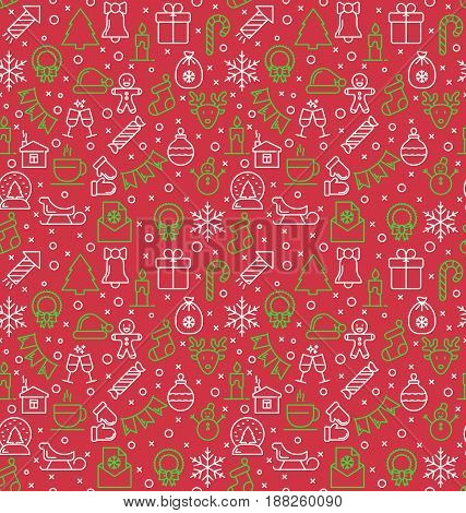 Seamless pattern of Christmas and new year celebration elements. Thin line style background. Unique illustration for textile and wrapping paper.