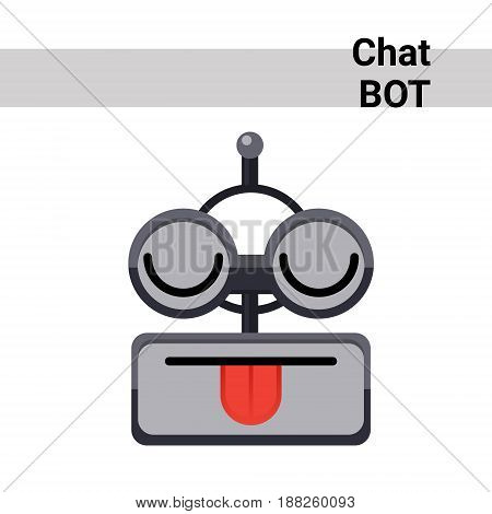 Cartoon Robot Face Smiling Cute Emotion Show Tongue Chat Bot Icon Flat Vector Illustration