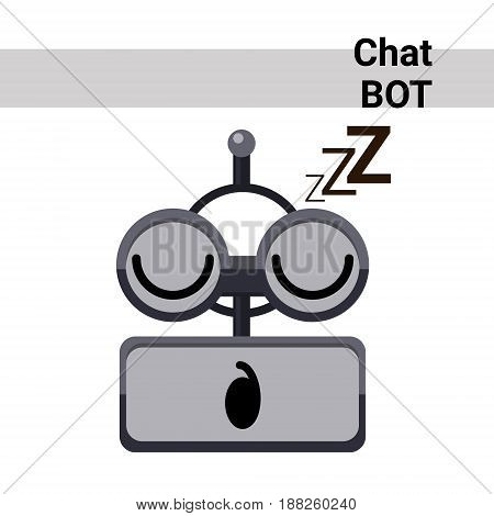 Cartoon Robot Face Sleep Cute Emotion Chat Bot Icon Flat Vector Illustration
