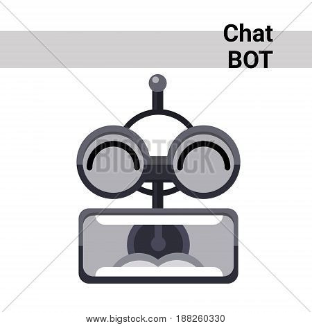 Cartoon Robot Face Screaming Cute Emotion Chat Bot Icon Flat Vector Illustration