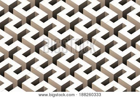 Abstract 3D seamless pattern. Vector maze illustration
