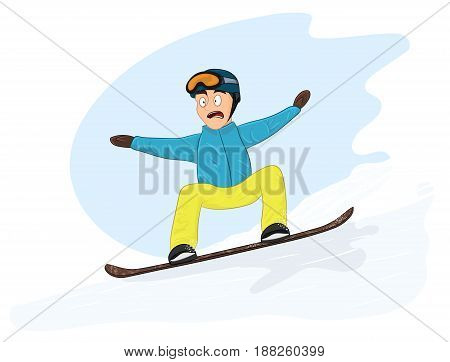 Newbie snowboarder is riding too fast. Vetor illustration