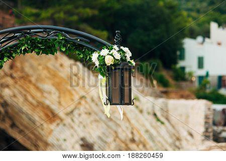 Street retro lantern on the streets of Montenegro.