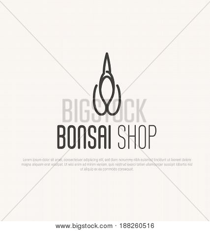 Logo for plant, bonsai or flower shop with scissors. Japanese culture. Vector illustration in thin line style.