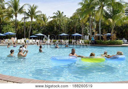 Vacation Village Weston Fort Lauderdale Florida USA - May 13 2017 : Aqua Zumba in the swimming pool at Vacation Villlage