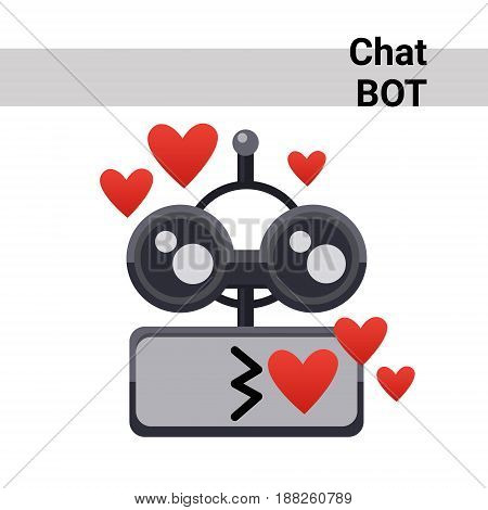 Cartoon Robot Face Smiling Cute Emotion Blow Kiss Chat Bot Icon Flat Vector Illustration