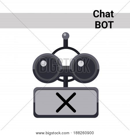 Cartoon Robot Face Silent Cute Emotion Chat Bot Icon Flat Vector Illustration