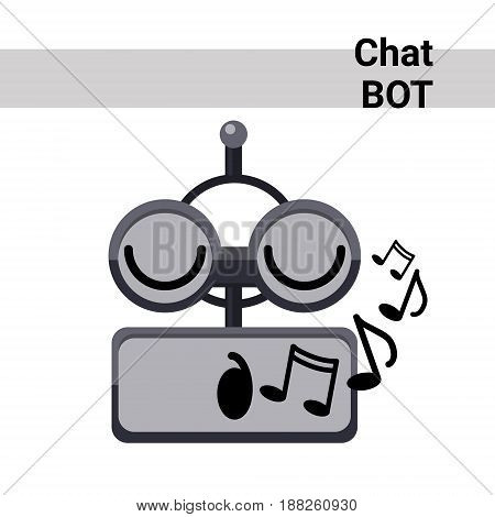 Cartoon Robot Face Smiling Cute Emotion Sing Chat Bot Icon Flat Vector Illustration
