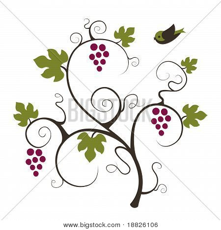 Grape vine and flying bird.