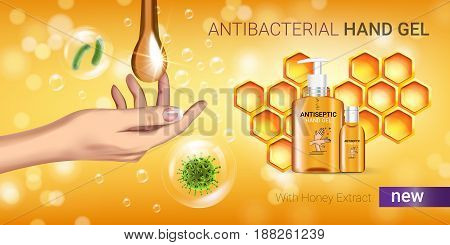 Honey flavor Antibacterial hand gel ads. Vector Illustration with antiseptic hand gel in bottles and honey elements. Horizontal banner.
