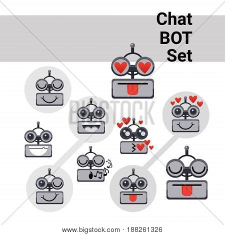 Cartoon Robot Face Smiling Cute Positive Emotion Chat Bot Icon Set Flat Vector Illustration