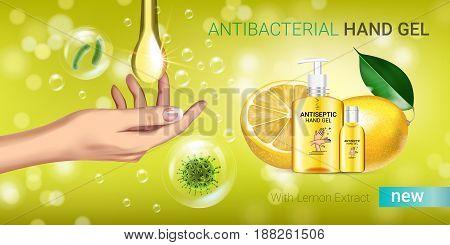 Lemon flavor Antibacterial hand gel ads. Vector Illustration with antiseptic hand gel in bottles and lemon elements. Horizontal banner.