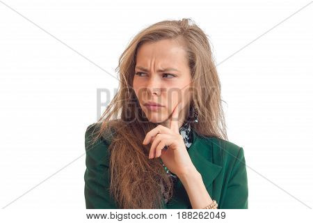 Portrait of a beautiful young blonde that wrinkled her face close-up isolated on white background