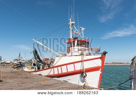 LAAIPLEK SOUTH AFRICA - APRIL 1 2017: A fishing boat at the harbor in the mouth of the Berg River at Laaiplek on the Atlantic coast of South Africa