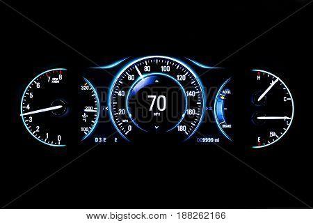 Modern Light Car Mileage On Black Background 70 Mph