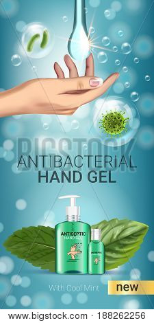 Cool mint flavor Antibacterial hand gel ads. Vector Illustration with antiseptic hand gel in bottles and mint leaves elements. Vertical banner.