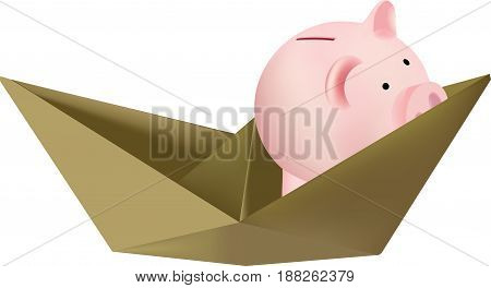 Paper boat with piggy bank Paper boat with piggy bank