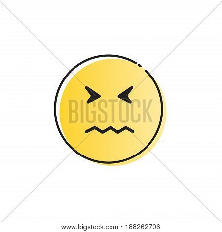 Yellow Cartoon Face Sad Negative People Emotion Icon Vector Illustration