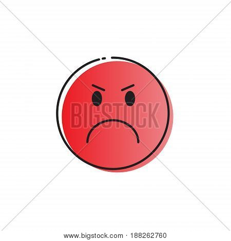 Yellow Cartoon Face Angry People Emotion Icon Vector Illustration