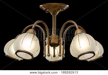 Modern Chandelier for interior decoration of the living room and kitchen. Chandelier isolated on black background.