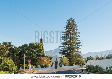 TULBACH SOUTH AFRICA - APRIL 2 2017: An early morning street scene in Tulbach an historic town in the Boland area of the Western Cape Province