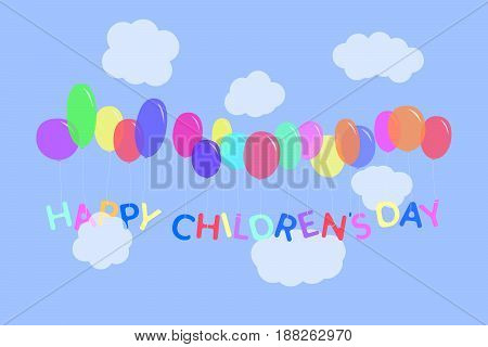 Happy children's day letters illustration. Multicolor characters tied to the colorful balloons flying in the sky with clouds. Vector background