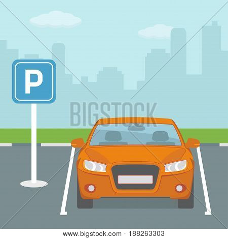 Parking place with one car.  Flat style, vector illustration.