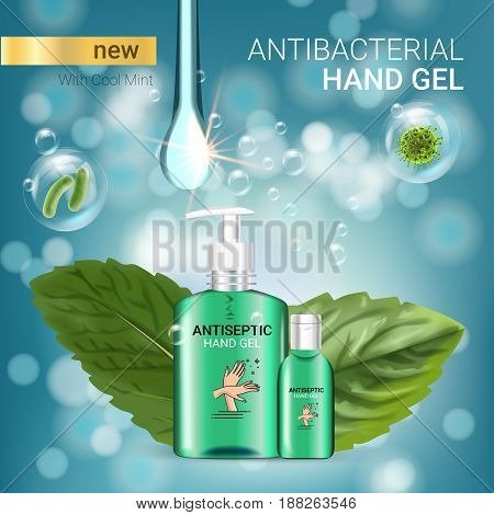 Cool mint flavor Antibacterial hand gel ads. Vector Illustration with antiseptic hand gel in bottles and mint leaves elements. Poster.